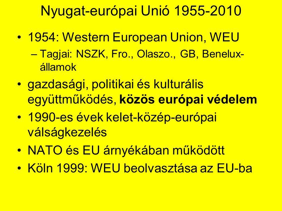 Nyugat-európai Unió 1955-2010 1954: Western European Union, WEU –Tagjai: NSZK, Fro., Olaszo., GB, Benelux- államok gazdasági, politikai és kulturális együttműködés, közös európai védelem 1990-es évek kelet-közép-európai válságkezelés NATO és EU árnyékában működött Köln 1999: WEU beolvasztása az EU-ba