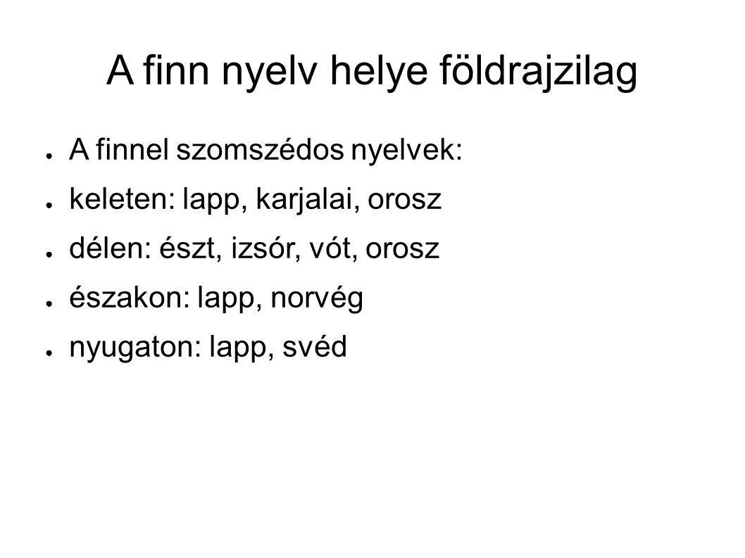 A finn nyelv helye földrajzilag ● A finnel szomszédos nyelvek: ● keleten: lapp, karjalai, orosz ● délen: észt, izsór, vót, orosz ● északon: lapp, norvég ● nyugaton: lapp, svéd