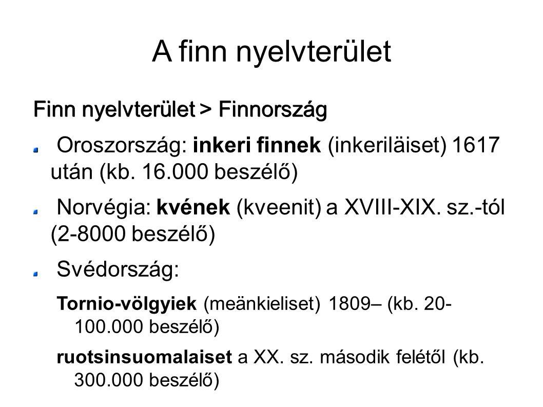 A finn nyelvterület Finn nyelvterület > Finnország Oroszország: inkeri finnek (inkeriläiset) 1617 után (kb. 16.000 beszélő) Norvégia: kvének (kveenit)