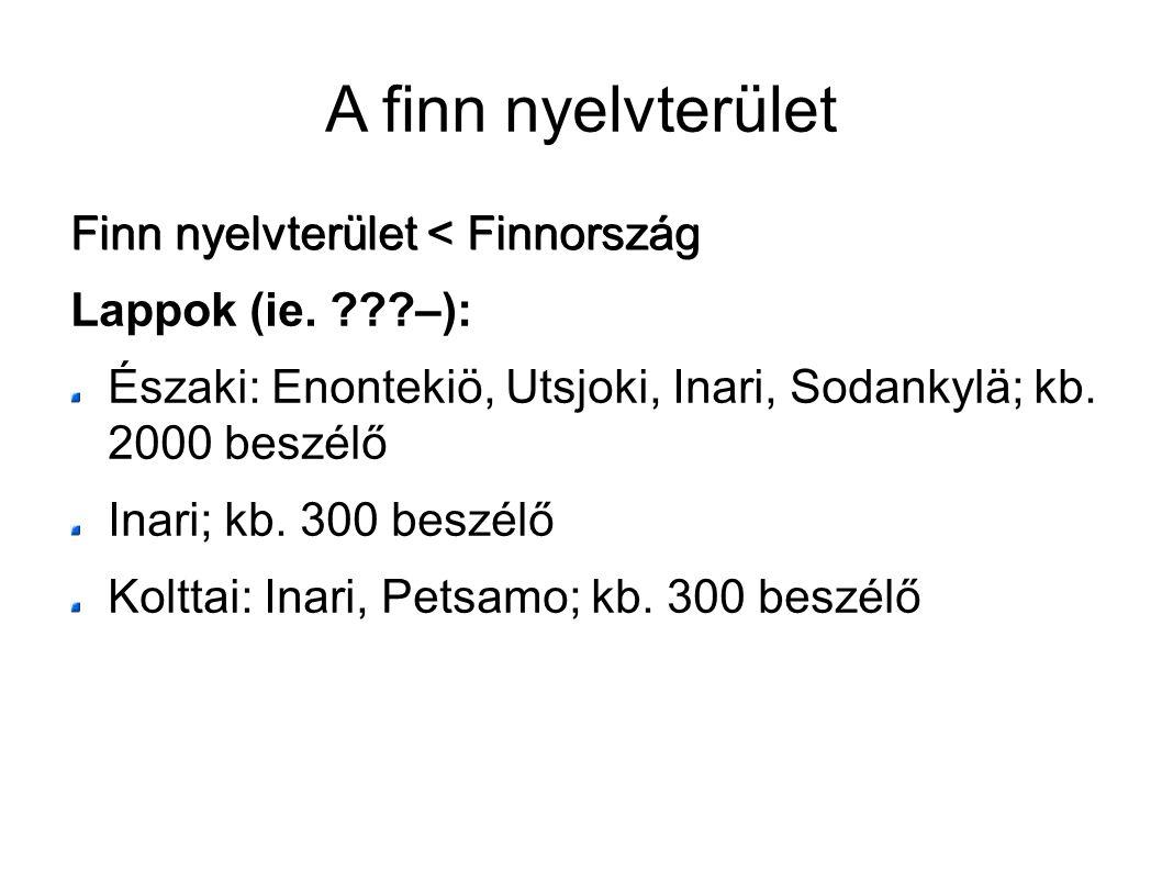 A finn nyelvterület Finn nyelvterület < Finnország Lappok (ie. ???–): Északi: Enontekiö, Utsjoki, Inari, Sodankylä; kb. 2000 beszélő Inari; kb. 300 be