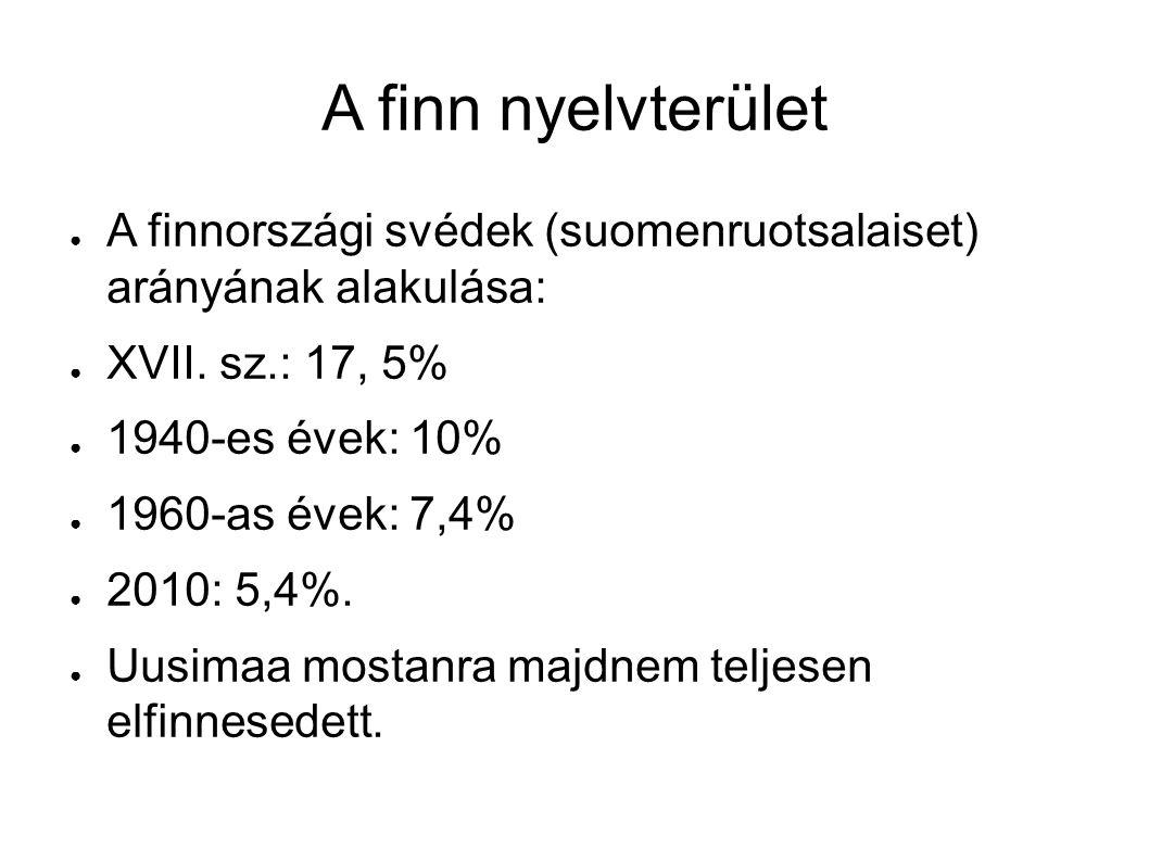A finn nyelvterület ● A finnországi svédek (suomenruotsalaiset) arányának alakulása: ● XVII. sz.: 17, 5% ● 1940-es évek: 10% ● 1960-as évek: 7,4% ● 20