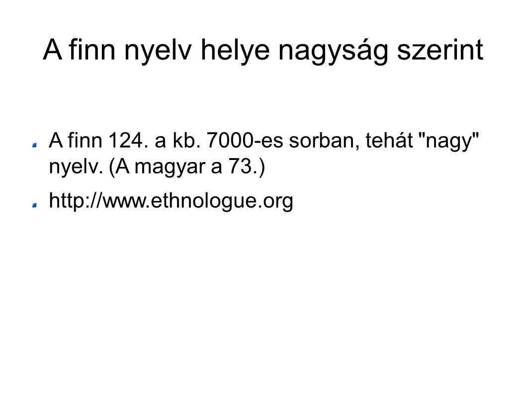 A finn nyelv helye nagyság szerint A finn 124. a kb. 7000-es sorban, tehát