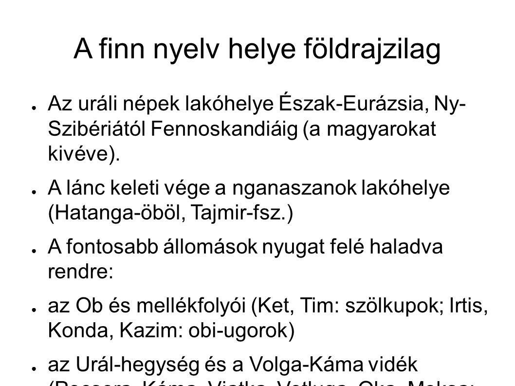 A finn nyelv helye földrajzilag ● Az uráli népek lakóhelye Észak-Eurázsia, Ny- Szibériától Fennoskandiáig (a magyarokat kivéve). ● A lánc keleti vége