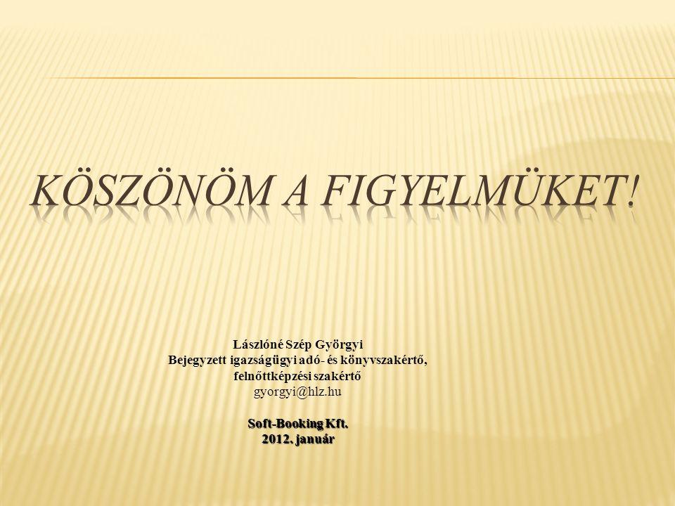 Lászlóné Szép Györgyi Bejegyzett igazságügyi adó- és könyvszakértő, felnőttképzési szakértő gyorgyi@hlz.hu Soft-Booking Kft. 2012. január