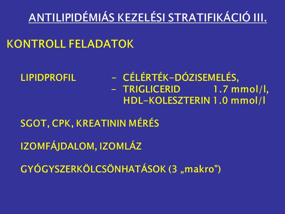 ANTILIPIDÉMIÁS KEZELÉSI STRATIFIKÁCIÓ III.