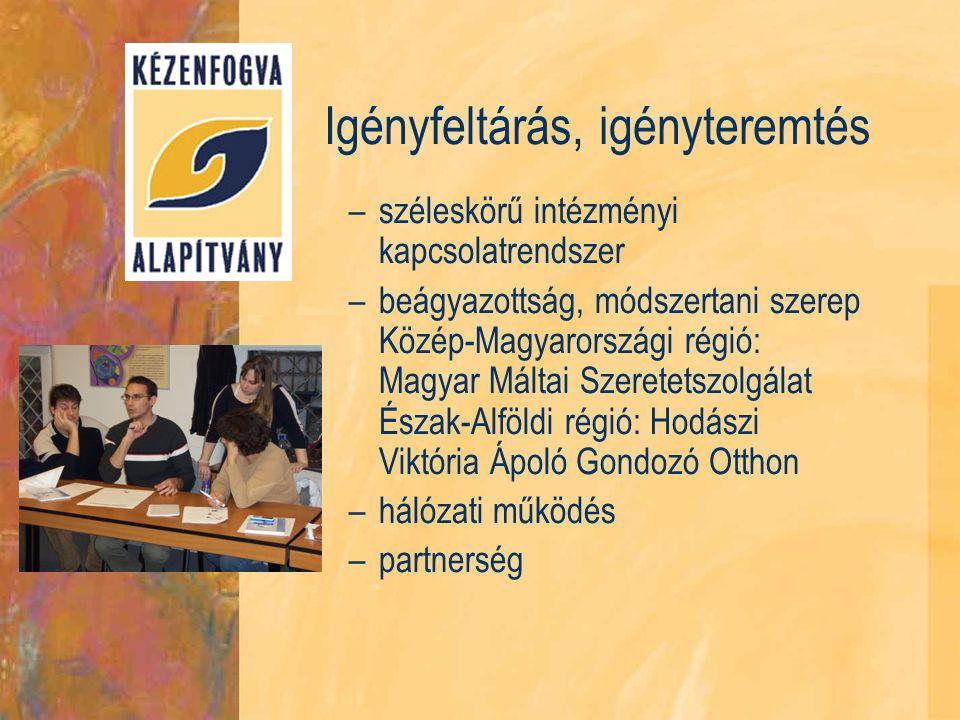 Igényfeltárás, igényteremtés –széleskörű intézményi kapcsolatrendszer –beágyazottság, módszertani szerep Közép-Magyarországi régió: Magyar Máltai Szeretetszolgálat Észak-Alföldi régió: Hodászi Viktória Ápoló Gondozó Otthon –hálózati működés –partnerség
