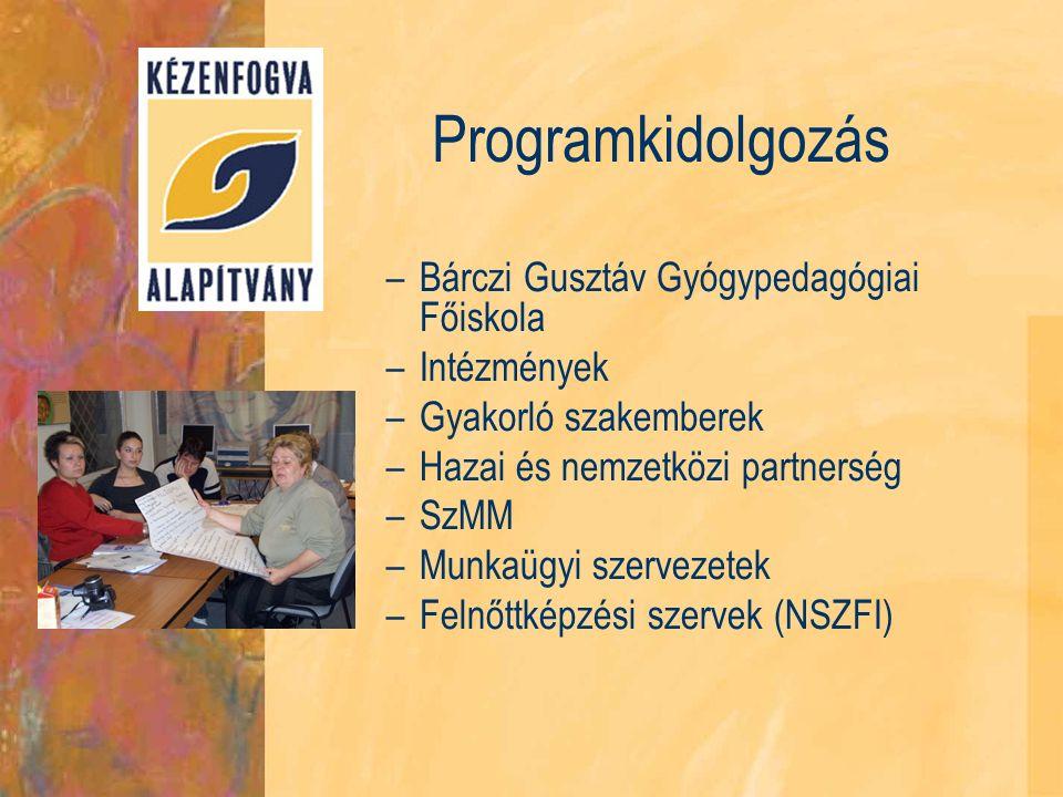 Programkidolgozás –Bárczi Gusztáv Gyógypedagógiai Főiskola –Intézmények –Gyakorló szakemberek –Hazai és nemzetközi partnerség –SzMM –Munkaügyi szervezetek –Felnőttképzési szervek (NSZFI)