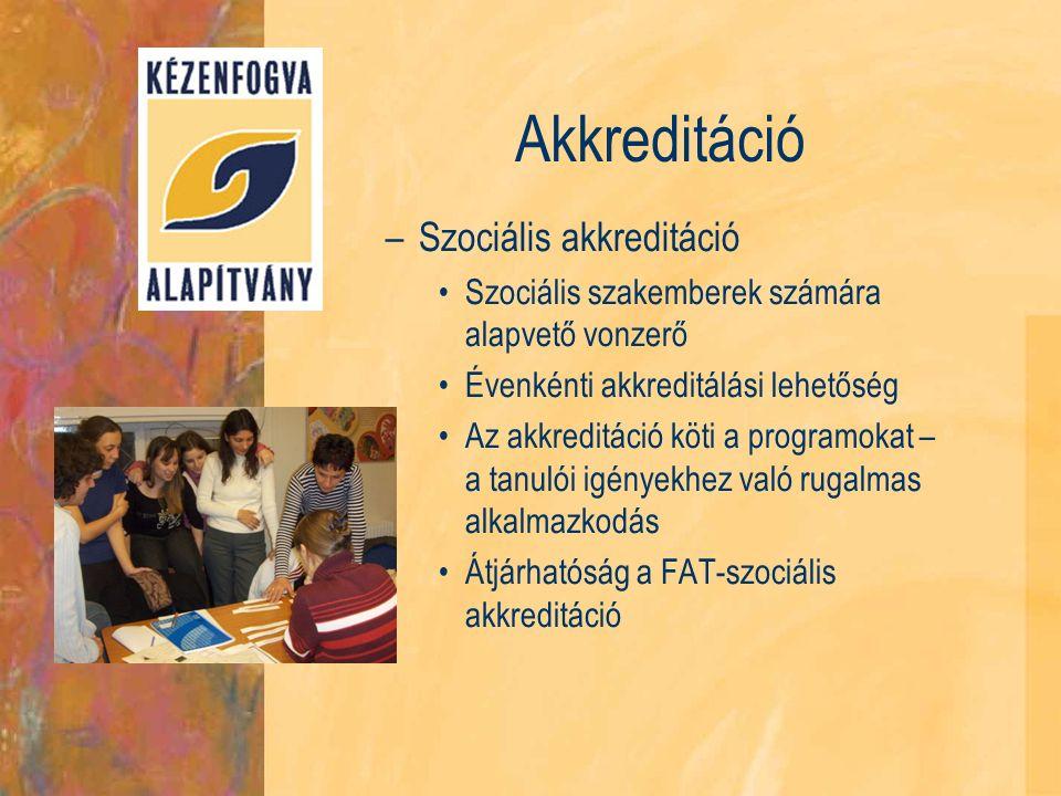 Akkreditáció –Szociális akkreditáció Szociális szakemberek számára alapvető vonzerő Évenkénti akkreditálási lehetőség Az akkreditáció köti a programokat – a tanulói igényekhez való rugalmas alkalmazkodás Átjárhatóság a FAT-szociális akkreditáció
