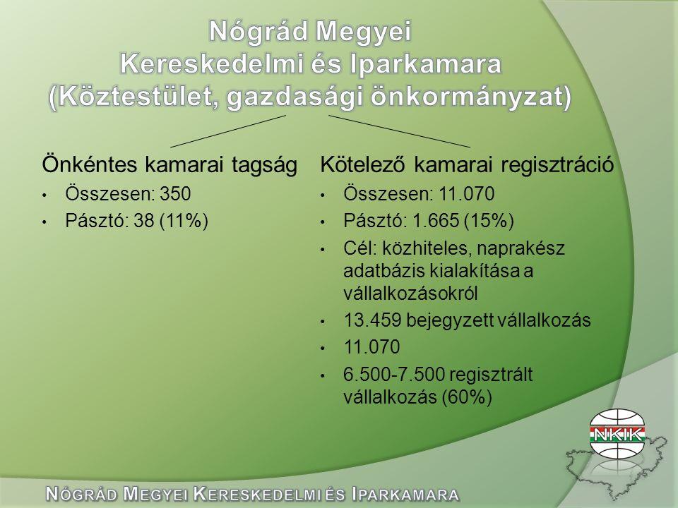 Önkéntes kamarai tagság Összesen: 350 Pásztó: 38 (11%) Kötelező kamarai regisztráció Összesen: 11.070 Pásztó: 1.665 (15%) Cél: közhiteles, naprakész adatbázis kialakítása a vállalkozásokról 13.459 bejegyzett vállalkozás 11.070 6.500-7.500 regisztrált vállalkozás (60%)