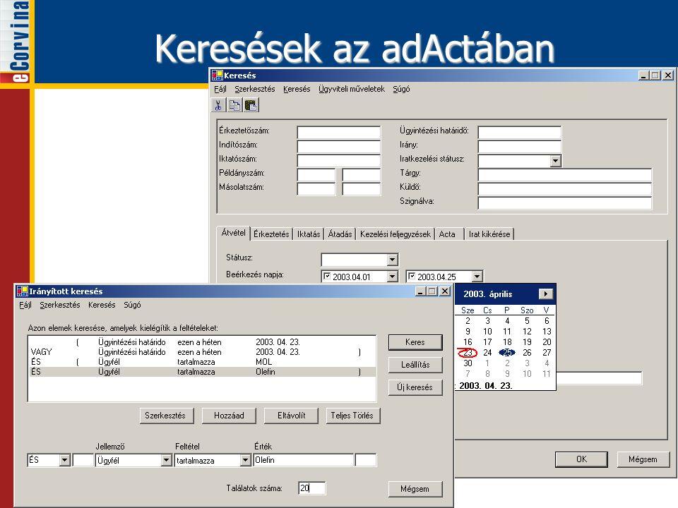 Keresések az adActában