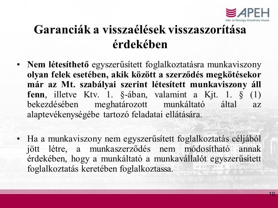 10 Garanciák a visszaélések visszaszorítása érdekében Nem létesíthető egyszerűsített foglalkoztatásra munkaviszony olyan felek esetében, akik között a szerződés megkötésekor már az Mt.