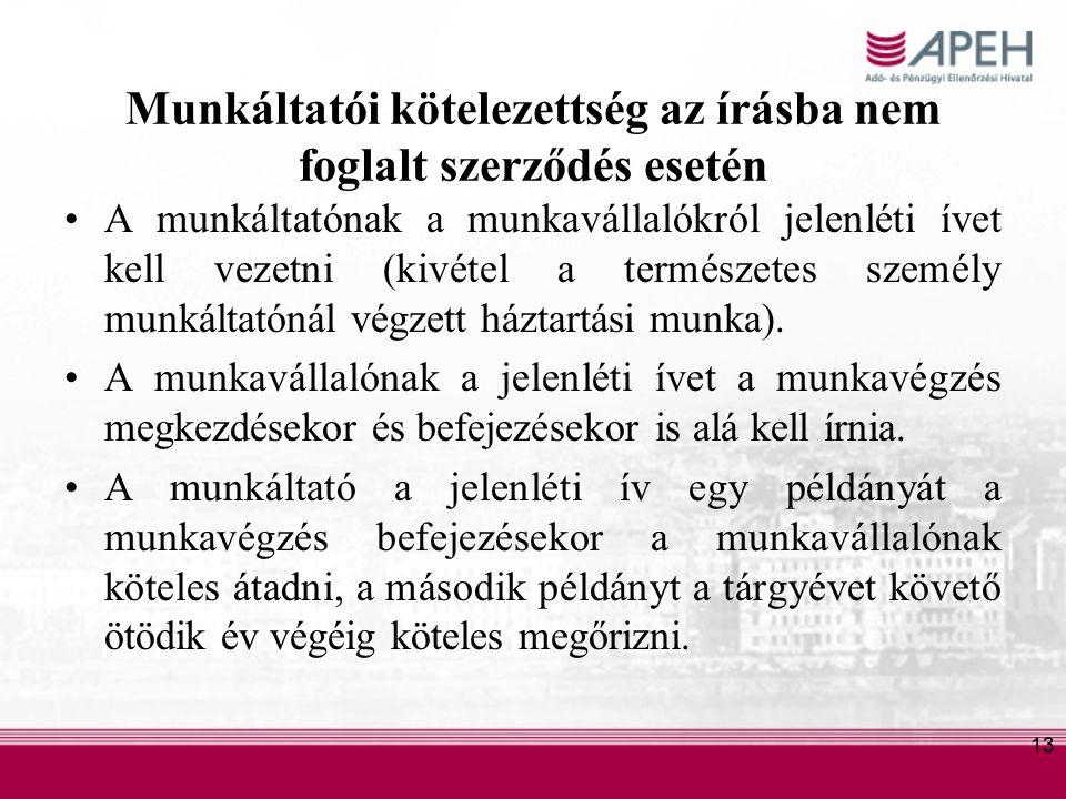 13 Munkáltatói kötelezettség az írásba nem foglalt szerződés esetén A munkáltatónak a munkavállalókról jelenléti ívet kell vezetni (kivétel a természetes személy munkáltatónál végzett háztartási munka).