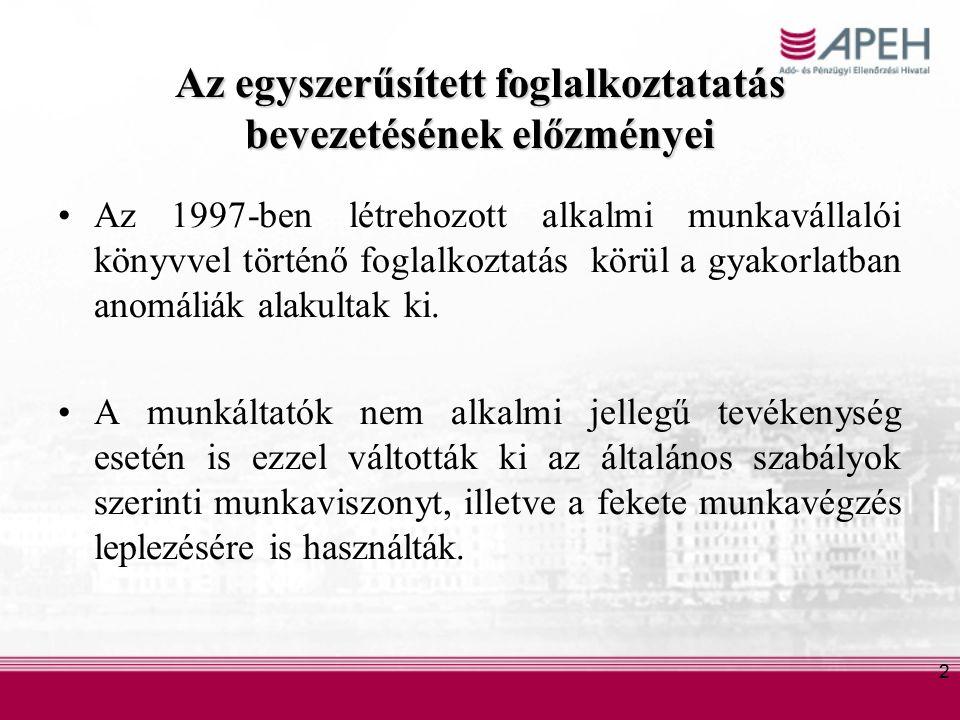 2 Az egyszerűsített foglalkoztatatás bevezetésének előzményei Az 1997-ben létrehozott alkalmi munkavállalói könyvvel történő foglalkoztatás körül a gyakorlatban anomáliák alakultak ki.