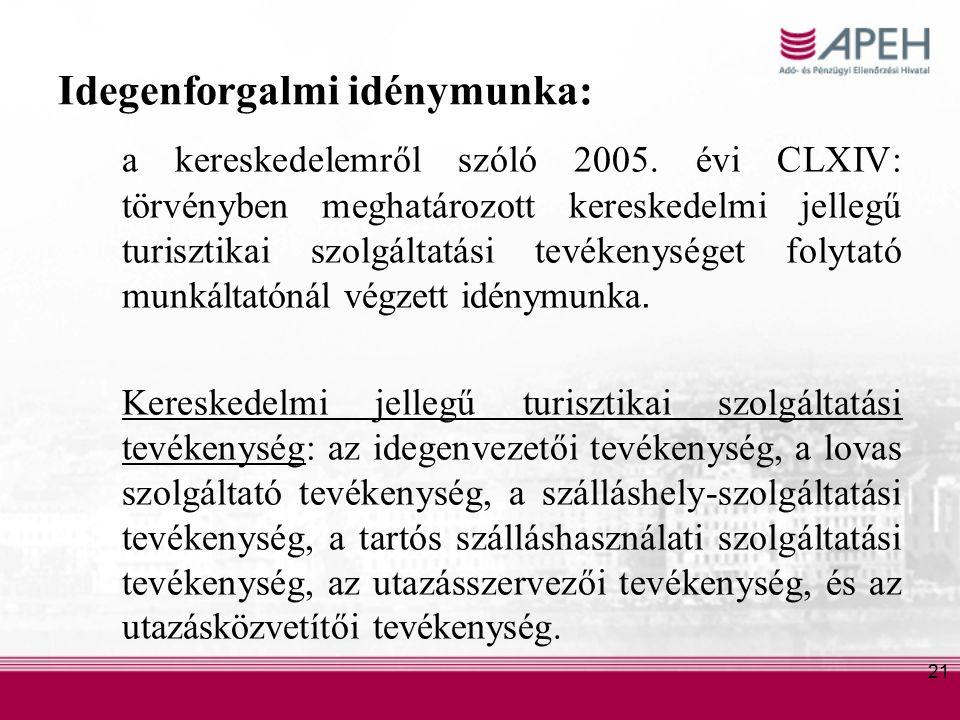 21 Idegenforgalmi idénymunka: a kereskedelemről szóló 2005.