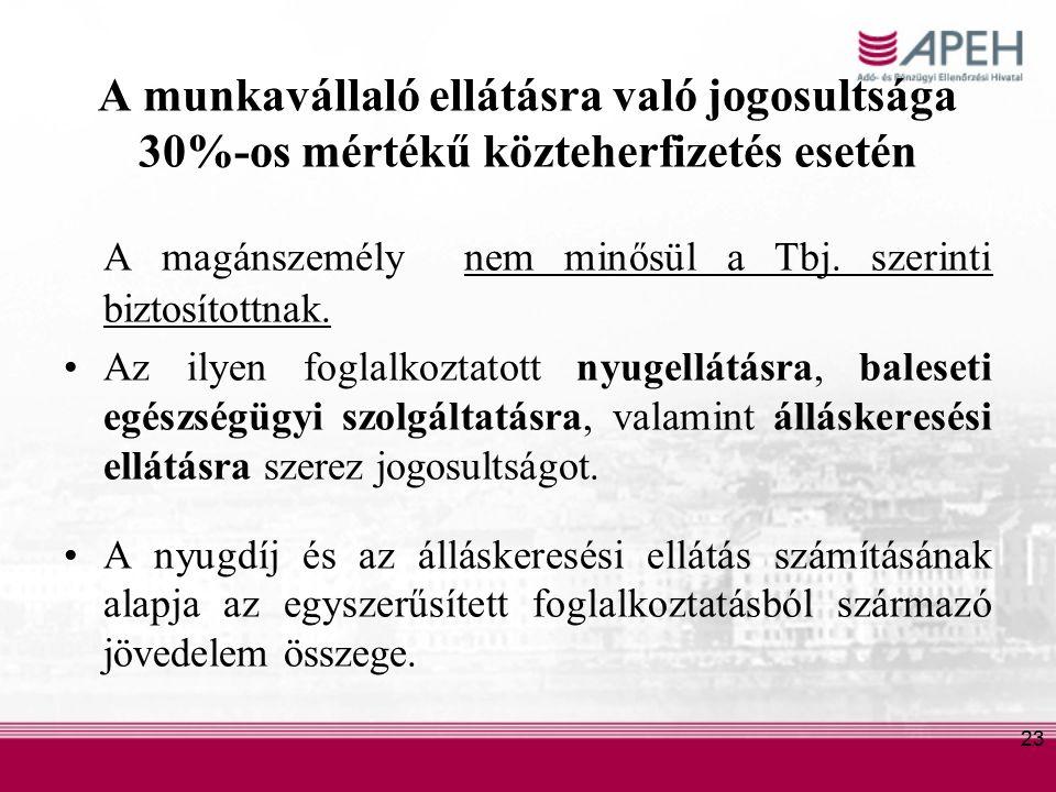 23 A munkavállaló ellátásra való jogosultsága 30%-os mértékű közteherfizetés esetén A magánszemély nem minősül a Tbj.