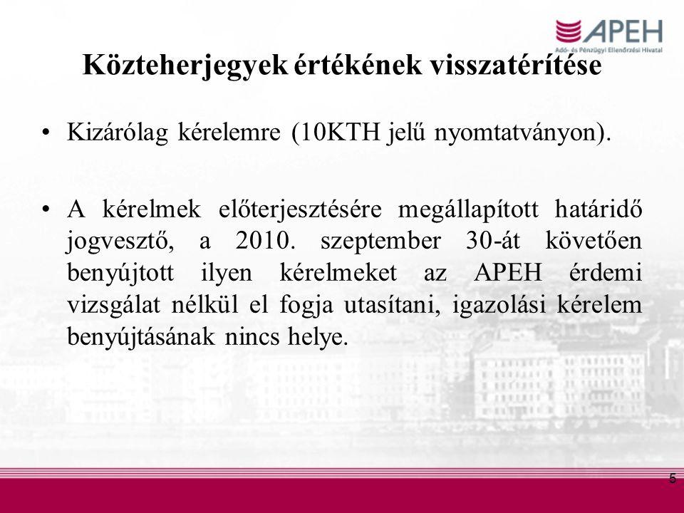 5 Közteherjegyek értékének visszatérítése Kizárólag kérelemre (10KTH jelű nyomtatványon).