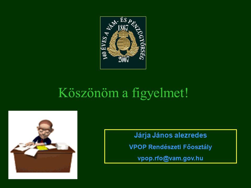 Köszönöm a figyelmet! Járja János alezredes VPOP Rendészeti Főosztály vpop.rfo@vam.gov.hu