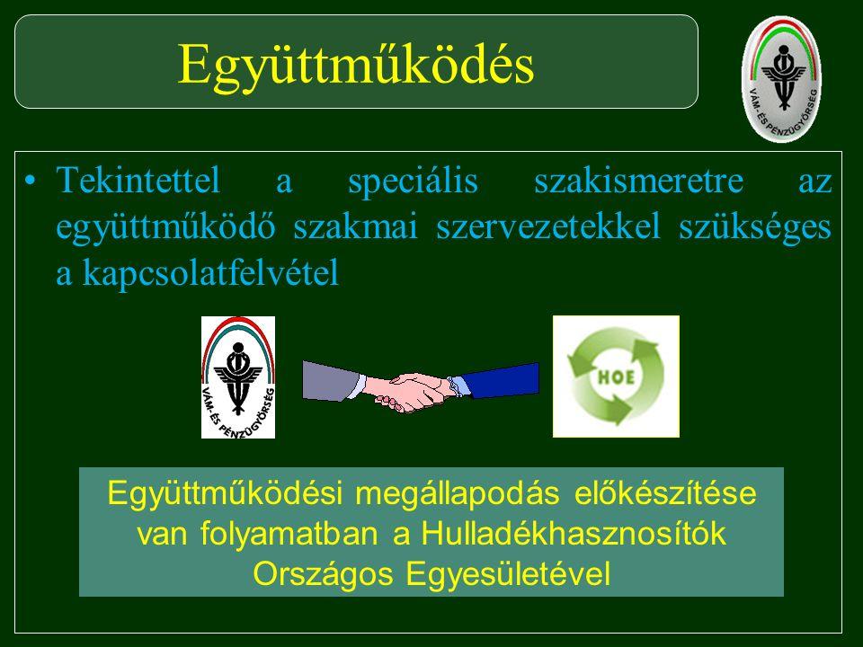 Tekintettel a speciális szakismeretre az együttműködő szakmai szervezetekkel szükséges a kapcsolatfelvétel Együttműködés Együttműködési megállapodás előkészítése van folyamatban a Hulladékhasznosítók Országos Egyesületével