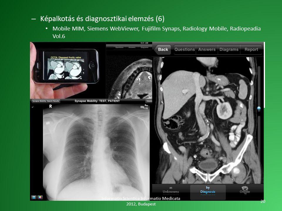 – Képalkotás és diagnosztikai elemzés (6) Mobile MIM, Siemens WebViewer, Fujifilm Synaps, Radiology Mobile, Radiopeadia Vol.6 Informatio Scientica Informatio Medicata 2012, Budapest 20