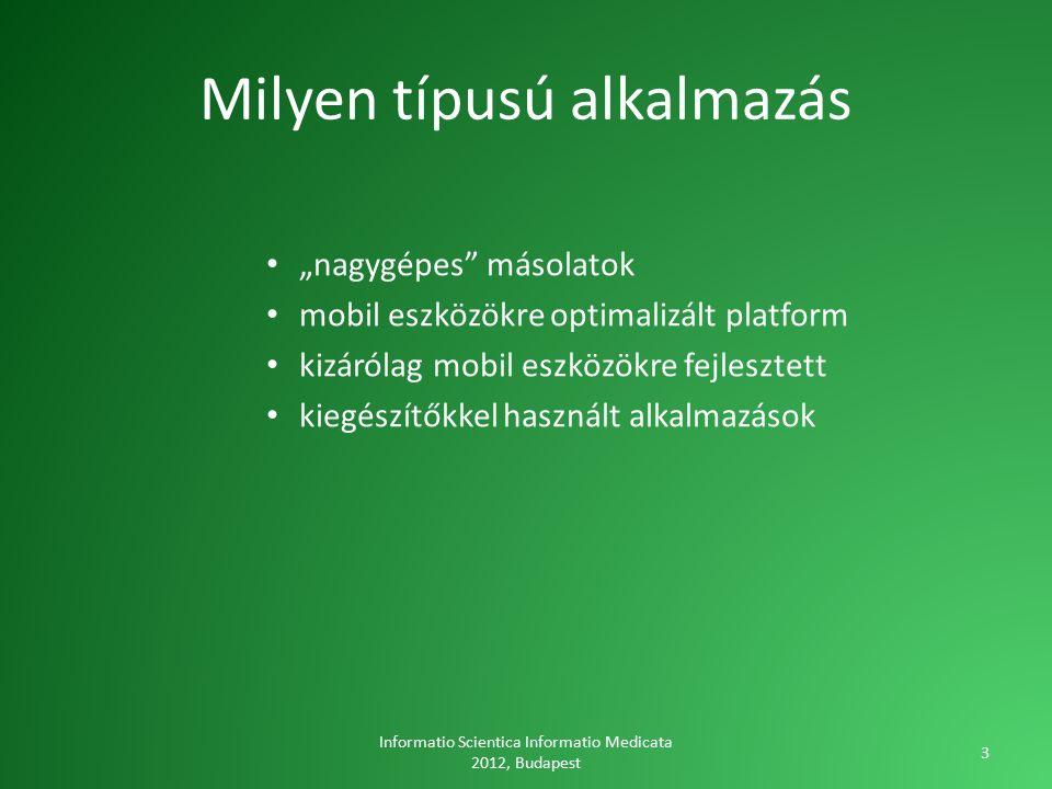 """Milyen típusú alkalmazás """"nagygépes másolatok mobil eszközökre optimalizált platform kizárólag mobil eszközökre fejlesztett kiegészítőkkel használt alkalmazások Informatio Scientica Informatio Medicata 2012, Budapest 3"""