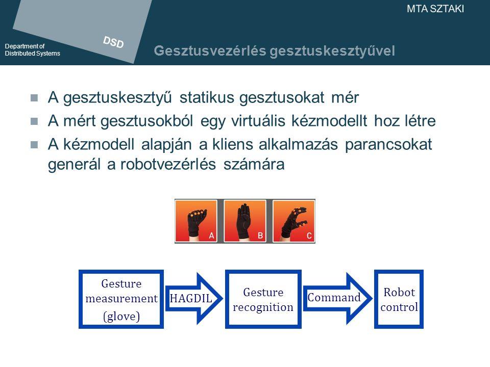 DSD Department of Distributed Systems DSD Department of Distributed Systems MTA SZTAKI A gesztuskesztyű felépítése Kesztyű 12 szenzorral Mikrokontrolleres egység Feldolgozza a szenzorok jeleit Gesztusreprezentációt állít elő a kliens számára Kliensalkalmazás (PC) A gesztusokból parancsot állít elő a robotvezérlés számára Segítségével elvégezhetjük a kesztyű konfigurálását