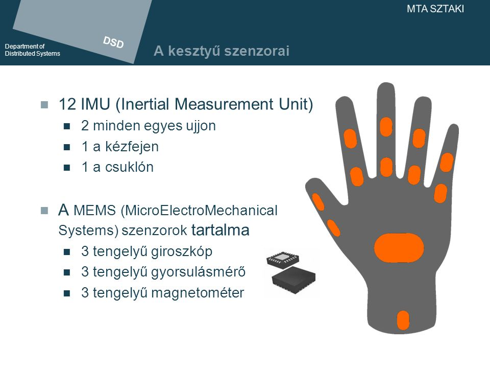 DSD Department of Distributed Systems DSD Department of Distributed Systems MTA SZTAKI A kesztyű szenzorai 12 IMU (Inertial Measurement Unit) 2 minden