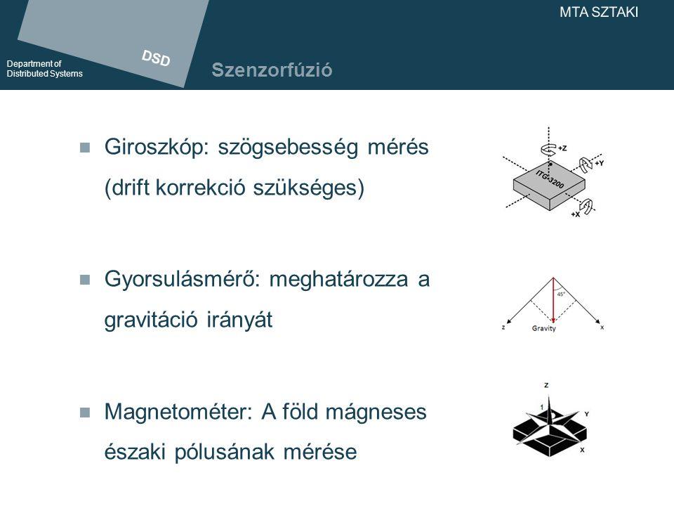 DSD Department of Distributed Systems DSD Department of Distributed Systems MTA SZTAKI Gesztusreprezentáció Szenzorfúzió (giroszkóp, gyorsulásmérő, magnetométer) Az egyes szenzorok abszolút orientációja Szenzorok egymással bezárt szögei Gesztusreprezentáció / virtuális kézmodell