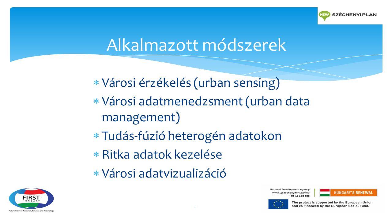  Városi érzékelés (urban sensing)  Városi adatmenedzsment (urban data management)  Tudás-fúzió heterogén adatokon  Ritka adatok kezelése  Városi adatvizualizáció Alkalmazott módszerek 1