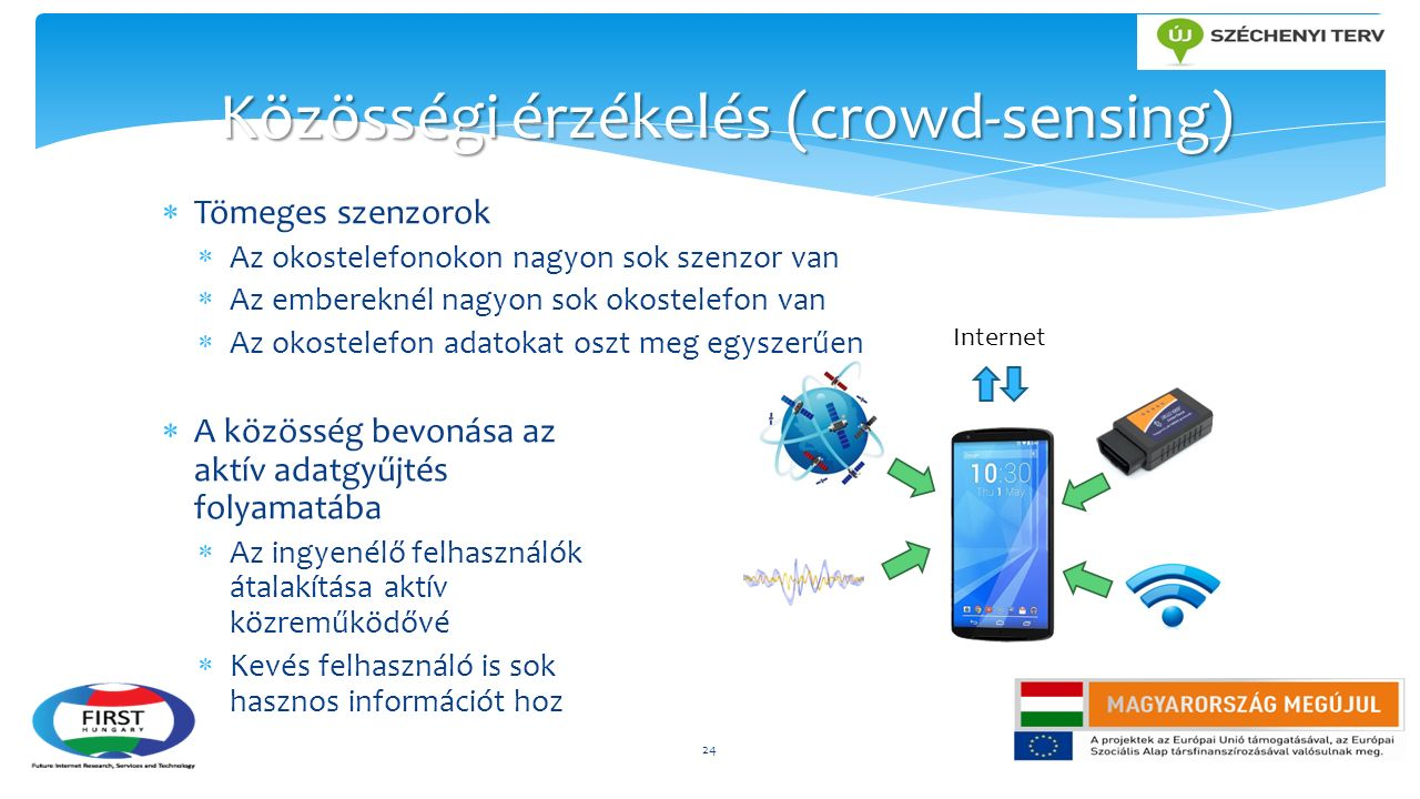  Tömeges szenzorok  Az okostelefonokon nagyon sok szenzor van  Az embereknél nagyon sok okostelefon van  Az okostelefon adatokat oszt meg egyszerűen  A közösség bevonása az aktív adatgyűjtés folyamatába  Az ingyenélő felhasználók átalakítása aktív közreműködővé  Kevés felhasználó is sok hasznos információt hoz 24 Közösségi érzékelés (crowd-sensing) Internet