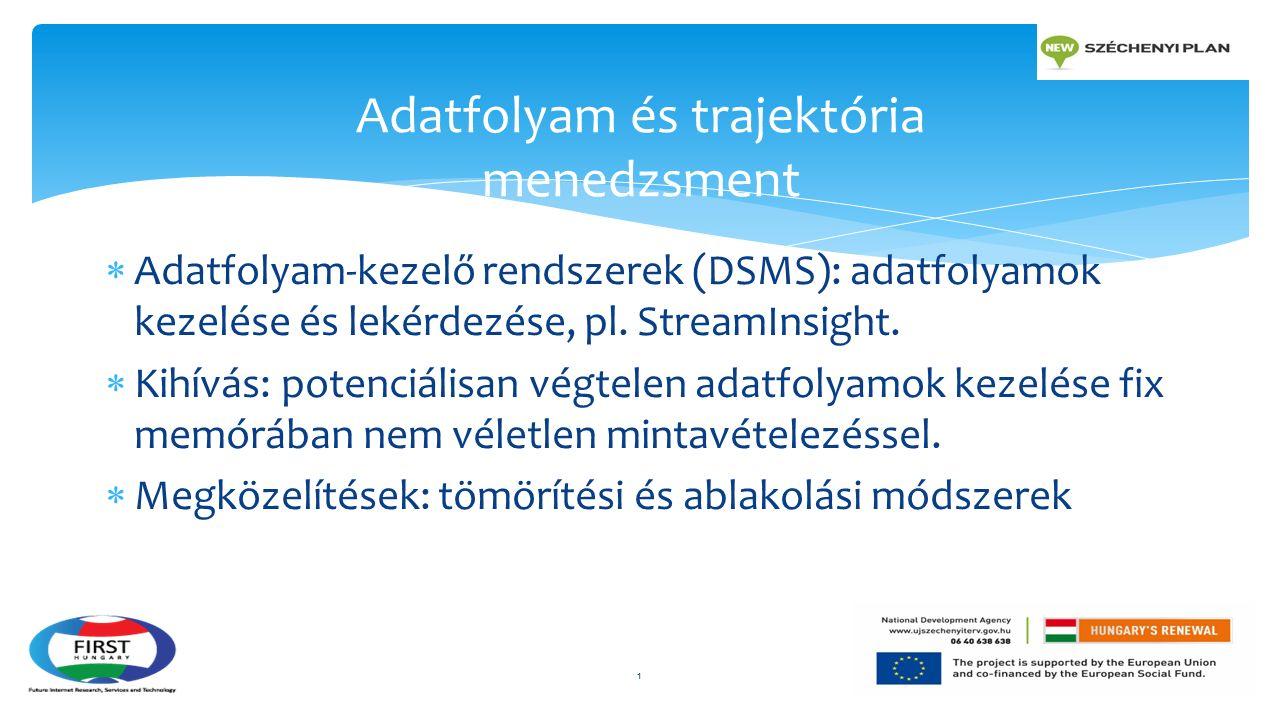  Adatfolyam-kezelő rendszerek (DSMS): adatfolyamok kezelése és lekérdezése, pl. StreamInsight.  Kihívás: potenciálisan végtelen adatfolyamok kezelés