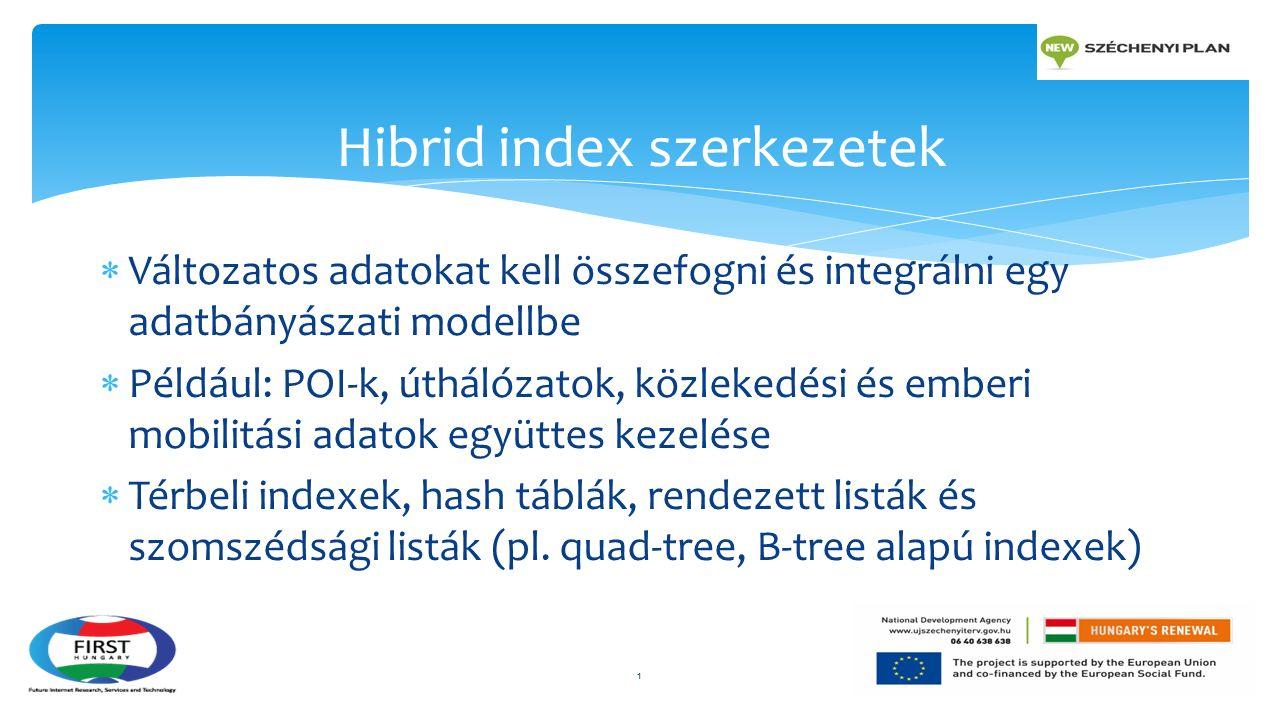  Változatos adatokat kell összefogni és integrálni egy adatbányászati modellbe  Például: POI-k, úthálózatok, közlekedési és emberi mobilitási adatok együttes kezelése  Térbeli indexek, hash táblák, rendezett listák és szomszédsági listák (pl.
