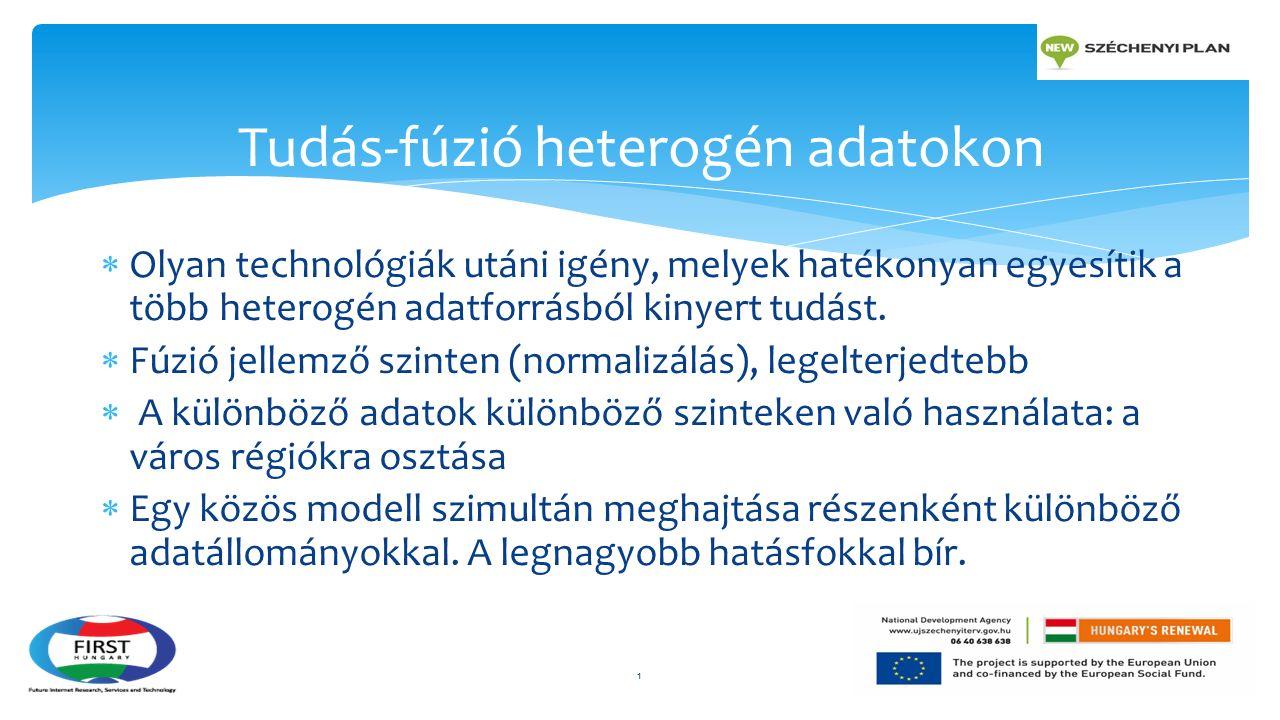  Olyan technológiák utáni igény, melyek hatékonyan egyesítik a több heterogén adatforrásból kinyert tudást.  Fúzió jellemző szinten (normalizálás),