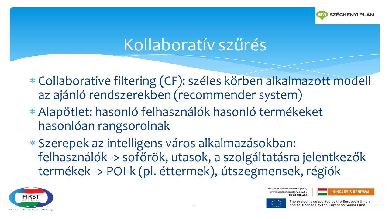  Collaborative filtering (CF): széles körben alkalmazott modell az ajánló rendszerekben (recommender system)  Alapötlet: hasonló felhasználók hasonló termékeket hasonlóan rangsorolnak  Szerepek az intelligens város alkalmazásokban: felhasználók -> sofőrök, utasok, a szolgáltatásra jelentkezők termékek -> POI-k (pl.