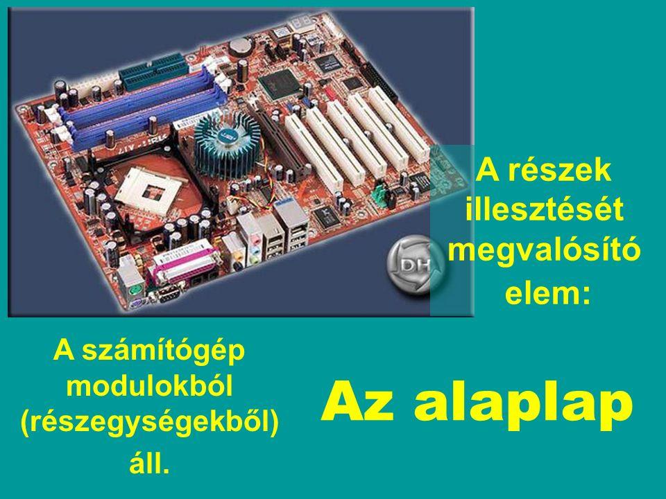 A számítógép modulokból (részegységekből) áll. Az alaplap A részek illesztését megvalósító elem: