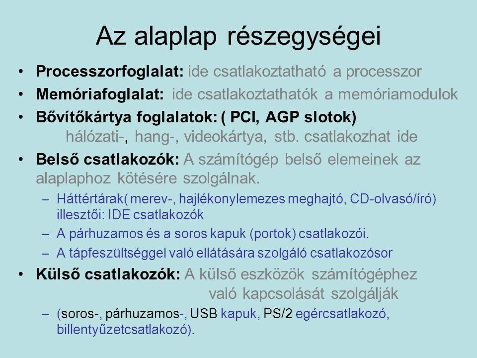 Processzorfoglalat: ide csatlakoztatható a processzor Memóriafoglalat: ide csatlakoztathatók a memóriamodulok Bővítőkártya foglalatok: ( PCI, AGP slot