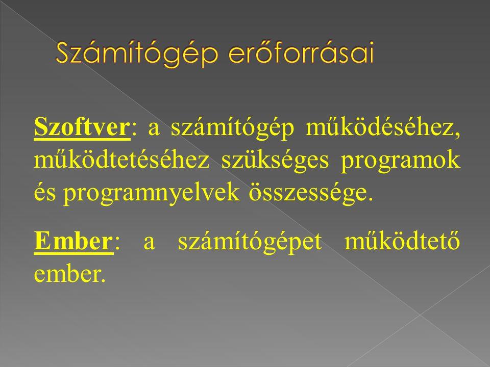 Szoftver: a számítógép működéséhez, működtetéséhez szükséges programok és programnyelvek összessége.