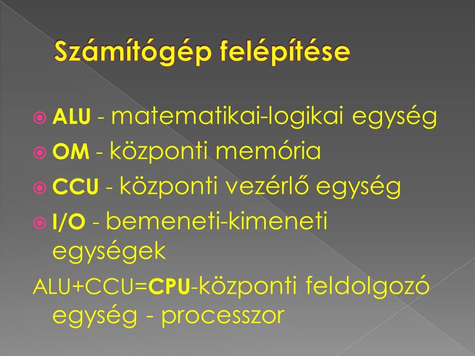  ALU - matematikai-logikai egység  OM - központi memória  CCU - központi vezérlő egység  I/O - bemeneti-kimeneti egységek ALU+CCU= CPU - központi feldolgozó egység - processzor