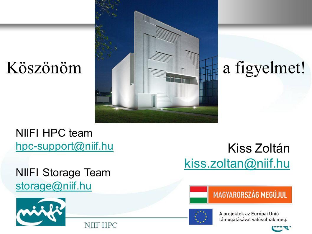 Nemzeti Információs Infrastruktúra Fejlesztési Intézet NIIF HPC Köszönöm a a figyelmet.