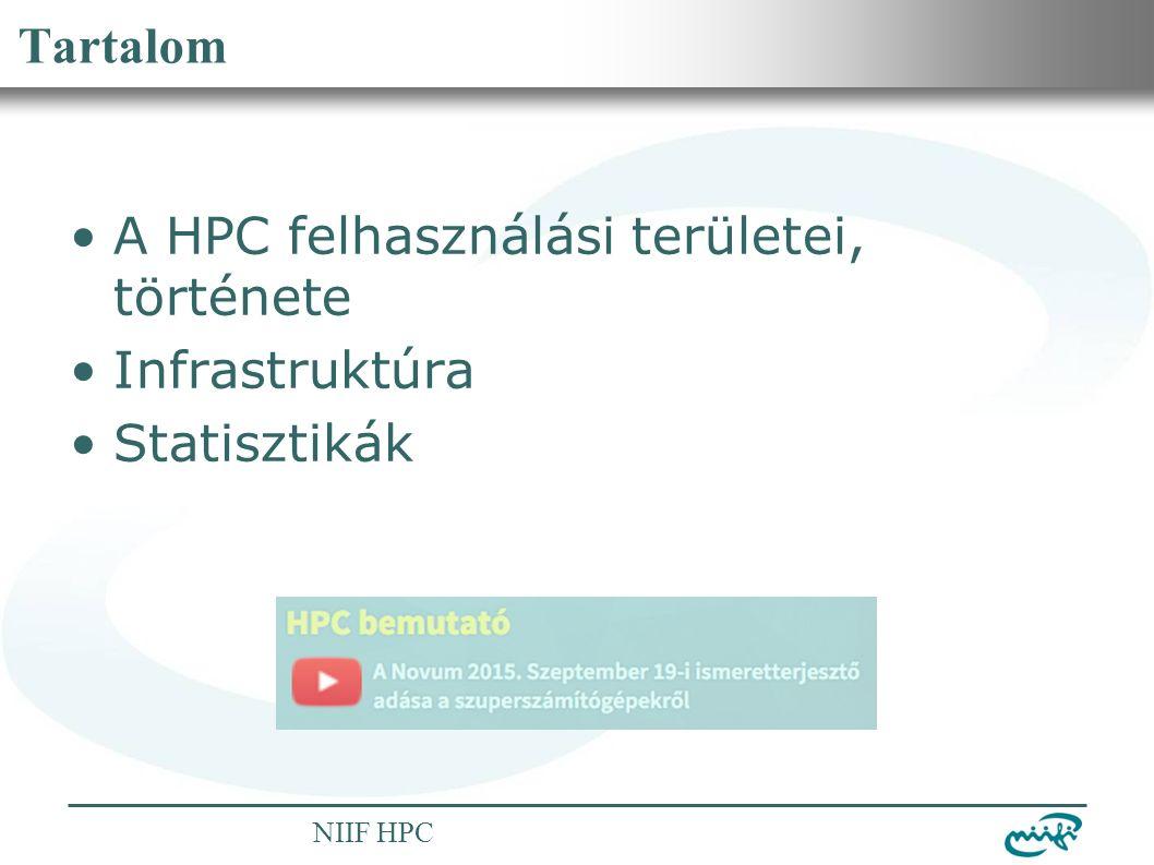 Nemzeti Információs Infrastruktúra Fejlesztési Intézet NIIF HPC Tartalom A HPC felhasználási területei, története Infrastruktúra Statisztikák