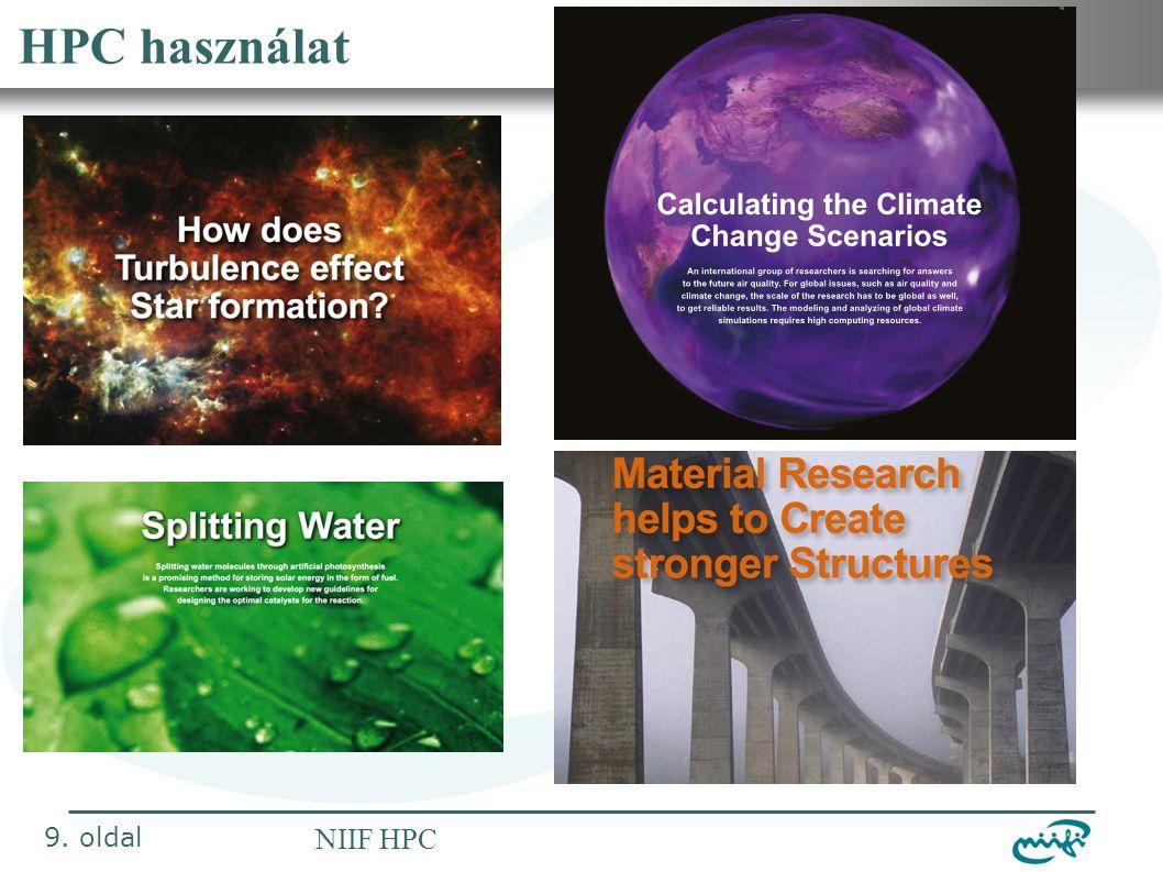 Nemzeti Információs Infrastruktúra Fejlesztési Intézet NIIF HPC HPC használat 9. oldal