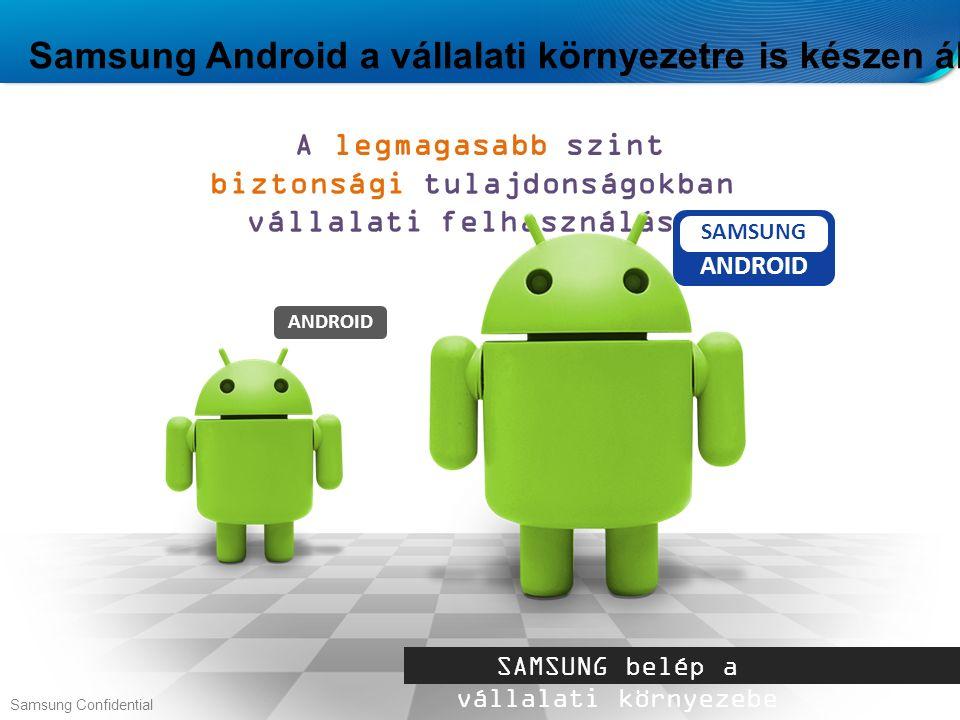 Samsung Android a vállalati környezetre is készen áll… A legmagasabb szint biztonsági tulajdonságokban vállalati felhasználásra SAMSUNG belép a vállalati környezebe ANDROID SAMSUNG ANDROID