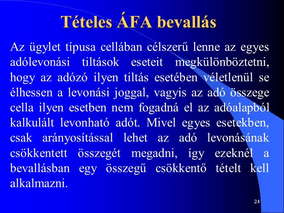 24 Tételes ÁFA bevallás Az ügylet típusa cellában célszerű lenne az egyes adólevonási tiltások eseteit megkülönböztetni, hogy az adózó ilyen tiltás es