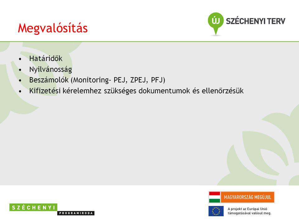 Megvalósítás Határidők Nyilvánosság Beszámolók (Monitoring- PEJ, ZPEJ, PFJ) Kifizetési kérelemhez szükséges dokumentumok és ellenőrzésük