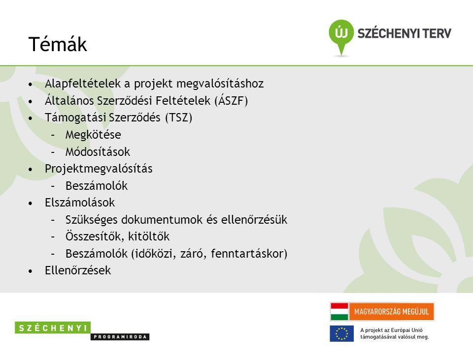 Témák Alapfeltételek a projekt megvalósításhoz Általános Szerződési Feltételek (ÁSZF) Támogatási Szerződés (TSZ) –Megkötése –Módosítások Projektmegvalósítás –Beszámolók Elszámolások –Szükséges dokumentumok és ellenőrzésük –Összesítők, kitöltők –Beszámolók (időközi, záró, fenntartáskor) Ellenőrzések