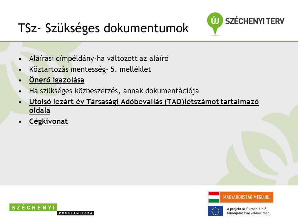 TSz- Szükséges dokumentumok Aláírási címpéldány-ha változott az aláíró Köztartozás mentesség- 5.