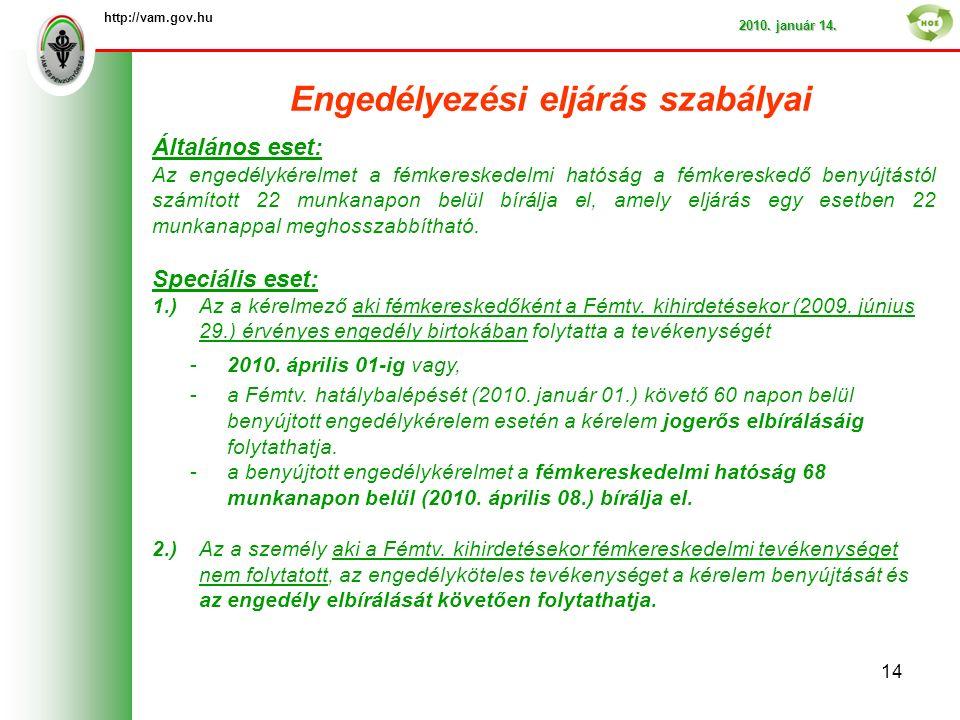 Engedélyezési eljárás szabályai http://vam.gov.hu 2010.