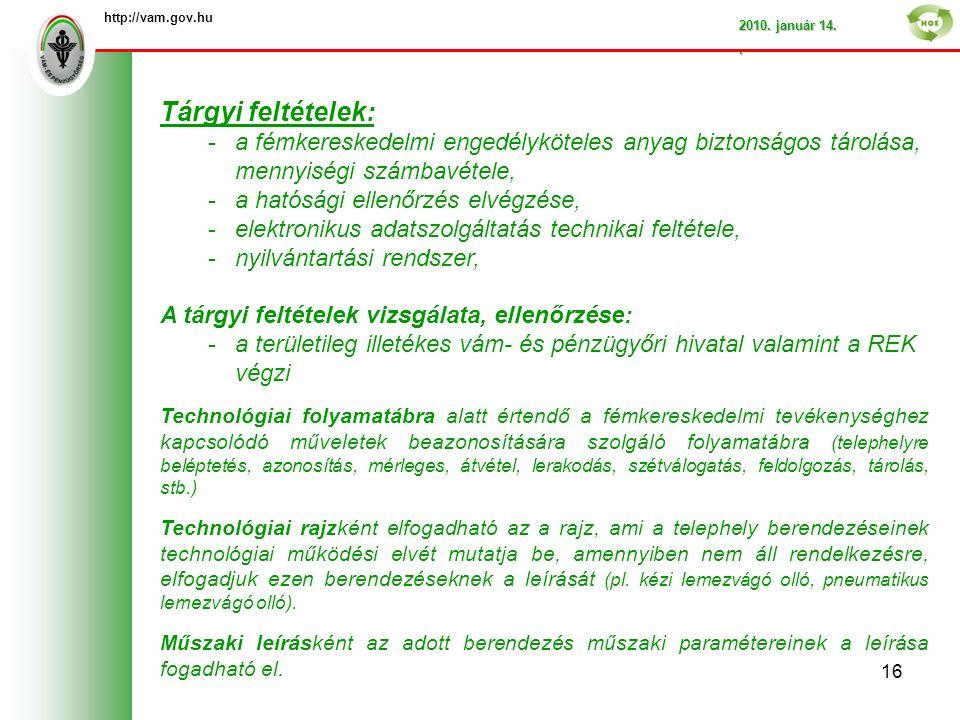 http://vam.gov.hu 2010. január 14..