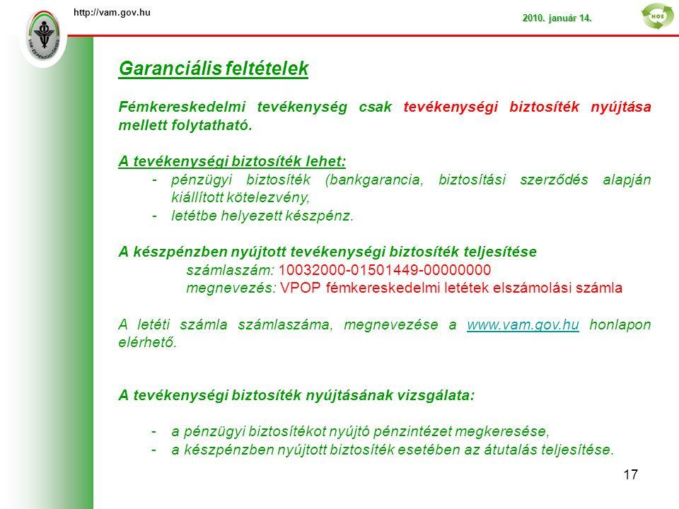 http://vam.gov.hu 2010. január 14.