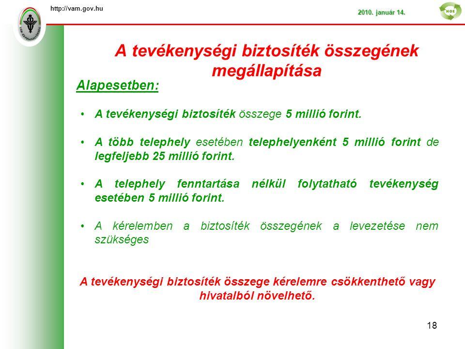 A tevékenységi biztosíték összegének megállapítása http://vam.gov.hu 2010.