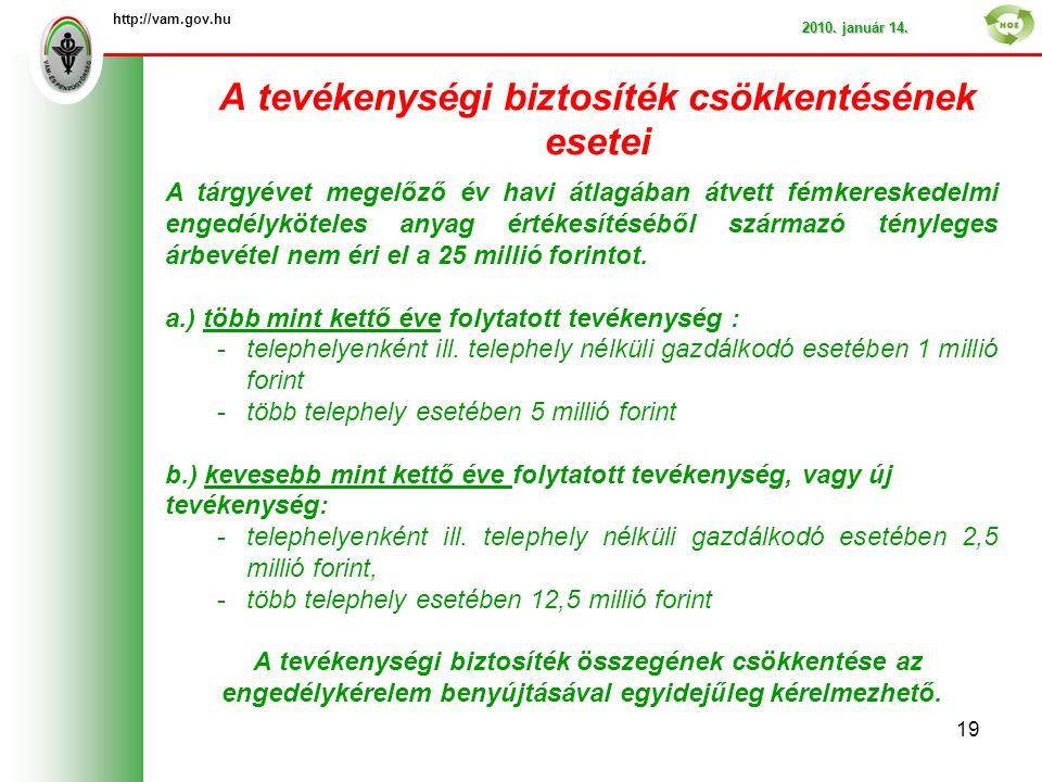 A tevékenységi biztosíték csökkentésének esetei http://vam.gov.hu 2010.